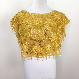 Vintage Yellow Gold Sequins Sheer Beaded Crop Top